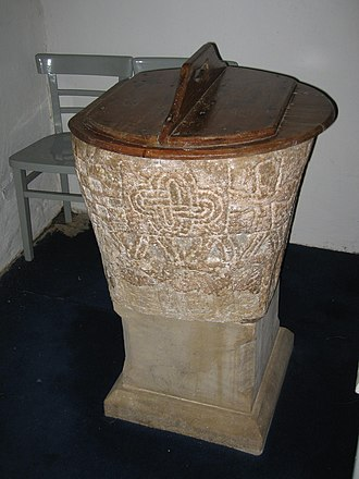 St Iestyn's Church, Llaniestyn - The 12th-century font