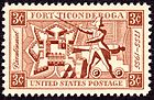 "A stamp, red ink on white background. The corners are labeled ""3c"" in reverse. A banner across the top reads ""Fort Ticonderoga"", one across the bottom reads ""United States Postage"". A banner down the left side reads ""Bicentennial"" in italic script, and one on the right reads ""1755-1955"". Imagery in the center of the stamp includes a diagram of the fort's layout, a colonial soldier brandishing a sword, and a cannon and cannonballs."