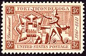 "A stamp, red ink on white background. The corners are labeled ""3c"" in reverse. A banner across the top reads ""Fort Ticonderoga"", one across the bottom reads ""United States Postage"". A banner down the left side reads ""Bicentennial"" in italic script, and one on the right reads ""1755–1955"". Imagery in the center of the stamp includes a diagram of the fort's layout, a colonial soldier brandishing a sword, and a cannon and cannonballs."