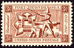 """A stamp, red ink on white background. The corners are labeled """"3c"""" in reverse. A banner across the top reads """"Fort Ticonderoga"""", one across the bottom reads """"United States Postage"""". A banner down the left side reads """"Bicentennial"""" in italic script, and one on the right reads """"1755–1955"""". Imagery in the center of the stamp includes a diagram of the fort's layout, a colonial soldier brandishing a sword, and a cannon and cannonballs."""