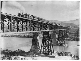 Pakistan Railways - Fortified North Western State Railway bridge over the Indus River at Attock, 1895