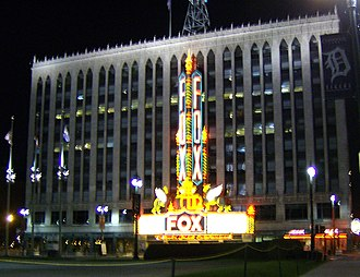 Performing arts in Detroit - A National Historic Landmark, the Detroit Fox Theatre lights up Foxtown at night.