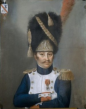Bearskin - François-Isidore Darquier, officer of the French grenadiers of the Imperial Guard wearing a bearskin cap