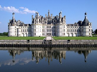 Francis's Chateau de Chambord displays a distinct French Renaissance architecture. France Loir-et-Cher Chambord Chateau 03.jpg