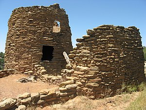 Dinétah - Frances Canyon Pueblito is a multi-roomed structure situated at the edge of a cliff in northwestern New Mexico.
