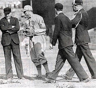 Fred Frankhouse -  Frankhouse and Umpires reacting to an alleged spitball pitch