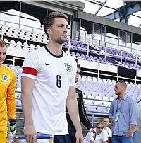 Franks captaining the England C team in 2014.jpg