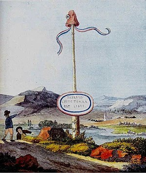 Johann Wolfgang von Goethe - A Goethe watercolour depicting a liberty pole at the border to the short-lived Republic of Mainz, created under influence of the French Revolution and destroyed in the Siege of Mainz in which Goethe participated