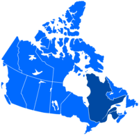 French language distribution in Canada   Regions where French is the main language   Regions where French is an official language but not a majority native language