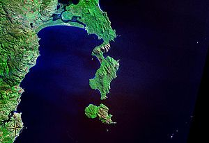 Freycinet Peninsula - The Freycinet Peninsula and Schouten Island, as seen from NASA space (false color).