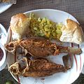 Fried fish served with vegetables and bread on a Lake Tana island..jpg