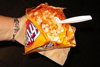 Frito pie - Frito pie variant served in a single serve Fritos bag