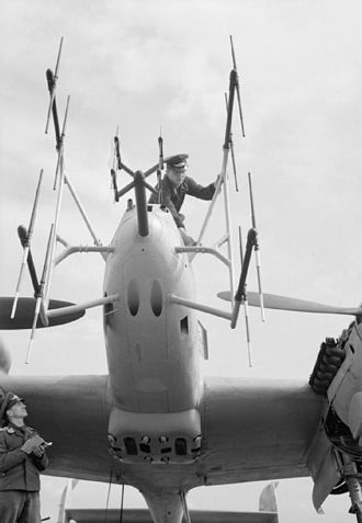 Yagi–Uda antenna - Yagi arrays of the German FuG 220 radar on the nose of a late-World War II Messerschmitt 110 fighter aircraft.