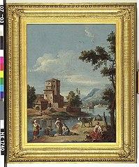 Italiaans landschap met gebouwen aan een meer, figuren en vee