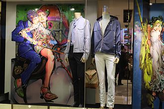JoJo's Bizarre Adventure - A Gucci store display in 2013, featuring JoJo's Bizarre Adventure characters.