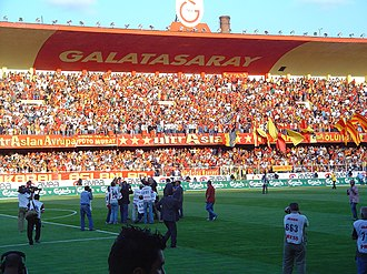Ali Sami Yen Stadium - The famous Kapali stand with the GALATASARAY sign and logo