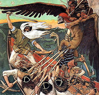 Väinämöinen - The Defence of the Sampo (1896) by Akseli Gallen-Kallela, showing Väinämöinen with a sword defending the Sampo from Louhi.