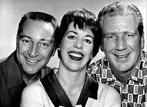 The Garry Moore Show - Cast photo: Garry Moore, Carol Burnett, and Durward Kirby, 1961