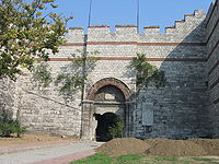 The restored Gate of Charisius or Adrianople Gate, where Sultan Mehmed II entered the city.