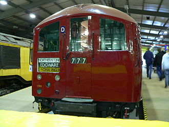 London Underground 1938 Stock - A 1938 tube stock train preserved at the London Transport Museum Depot in 2005.