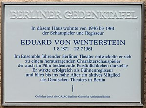 Eduard von Winterstein - Memorial plaque in Berlin