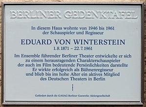 Eduard von Winterstein - Memorial plaque in Berlin