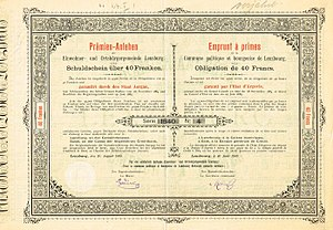 Lenzburg - Debenture of Lenzburg, issued 10. August 1885