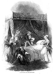 George Washington on his death-bed (1856 engraving)