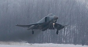 German F-4F Phantom II landing at Zokniai Lithuania 2011-01-04.jpeg