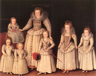 Robert Sidney, 1st Earl of Leicester - Barbara Sidney with six of her  children, painted c.1596 by Marcus Gheeraerts the Younger (1561–1636), collection of Viscount de Lisle, Penshurst Place