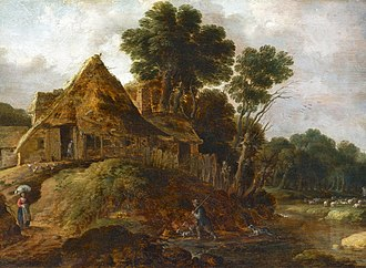 Gillis Peeters the Elder - Wooded Landscape with a Hermit and Travellers