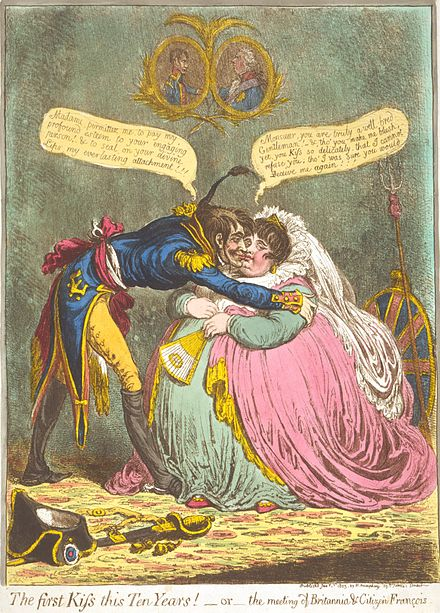 In The first Kiss this Ten Years! --or--the meeting of Britannia & Citizen Francois (1803), James Gillray caricatured the peace between France and Britain. Gillray - The First Kiss.jpg