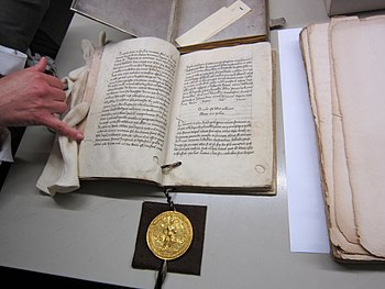 Trier copy of the Golden Bull including the seal with the portrait of Charles IV.