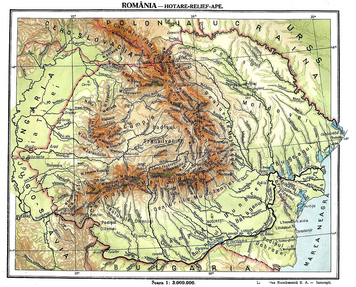 Fișier Greater Romania Physical Map Jpg Wikipedia