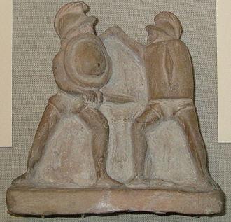 Thraex - Hoplomachus (left) vs thraex (right) (Terracotta, British Museum).