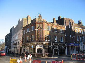 Greenwich Theatre - The two facades of the theatre, to either side of the Rose and Crown pub, 2007