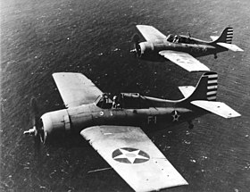Grumman F4F-3 Wildcats of VF-3 in flight off Oahu on 10 April 1942 (80-G-10613).jpg