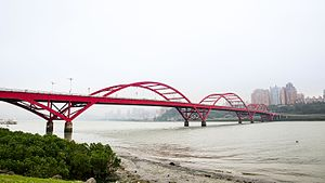 Guandu Bridge - A view of the Guandu Bridge from the Bali side