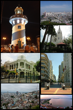 Top left: A night view of lighthouse in Santa Ana Hill, Top upper right: A view of Malecon Simon downtown area, from Santa Ana Hill, Top lower right: Guayaquil Metropolitan Catedral, Middle left: Guayaquil City Office, Middle right: View of Avenida Nueve del Octubre from Malecon 2000, Bottom left: View of Carmen Hills, Bottom right: Guayas River and Guayaquil National Unity Bridge