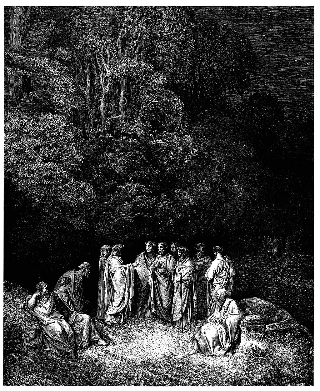 Gustave Doré - Dante Alighieri - Inferno - Plate 12 (Canto IV - Limbo, Dante is accepted as an equal by the great Greek and Roman poets)