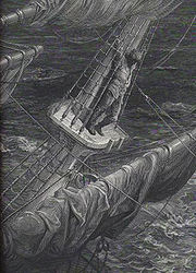One of a set of engraved metal plate illustrations by Gustave Doré: the Mariner up on the mast in a storm.