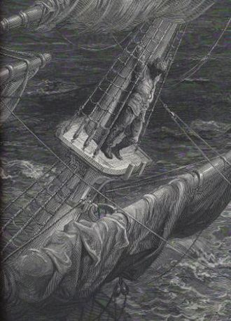 The Rime of the Ancient Mariner - The mariner up on the mast in a storm. One of the wood-engraved illustrations by Gustave Doré of the poem.