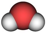 Modello generato al computer di una molecola d'acqua.
