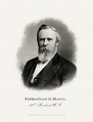 BEP engraved portrait of Hayes as President.