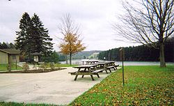 A picnic area at Hills Creek State Park in Charleston Township