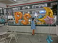 HK Sheung Wan PMQ mall Hollywood Road night shop corridor balcony visitor May-2014.JPG