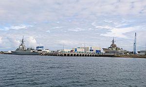 Hobart-class destroyer - HMAS Hobart, left, and HMAS Brisbane at ASC Osborne in June 2016.