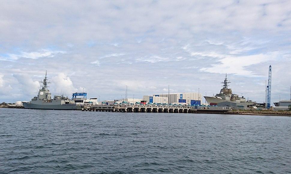HMAS Hobart and Brisbane at ASC Osborne - cropped