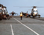 HMS Invincible (R05) flight deck with Sea Kings and Sea Harriers 1990.JPEG