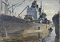 HMS Vanguard in Dock, February 1946 by Stephen Bone IWM IWM LD 5785.jpg